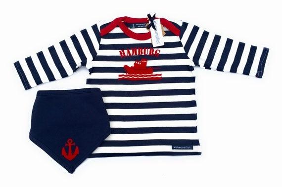 Baby Set SCHLEPPER HAMBURG - Fair Trade & Organic - Hamburg, Baby Gift for Birth, Maritime baby set, Long Sleeve Shirt, Neck scarf Anchor