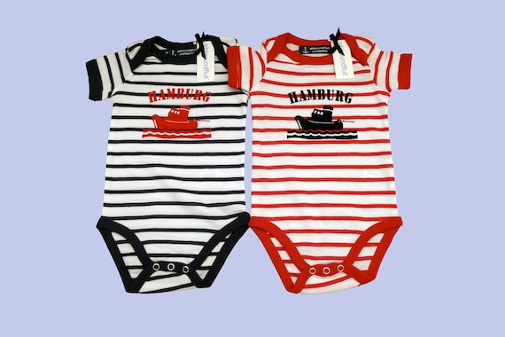 Twin Pack Baby Bodies Tug Hamburg - Maritime baby set, baby gift for birth, twins, Twinset Port Hamburg