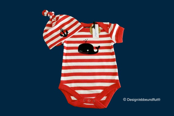 Maritime baby set whale red white - Fair Trade & Organic - Baby Body Whale and Baby Hat Anchor, Baby Gift for Birth, Baby Set ebbeundflut
