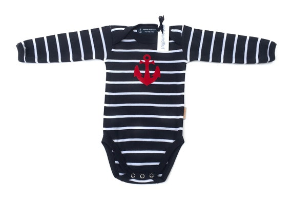 Maritime Baby Body Anchor - Long Sleeve Bodysuit by Ebbeundflood, Striped Bodysuit, Baby Gift for Birth, Baby Bodysuit Boy, Anchor