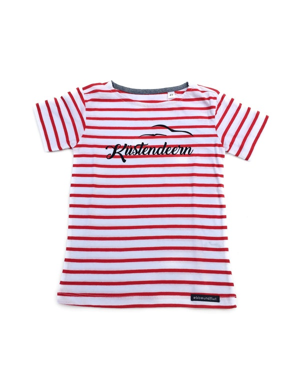 T-Shirt Coastal Deern with Seagulls - White Red Striped - Fair Trade & Organic - Kids Shirt, Shirt maritim, Coastal Deern, Hamburger Deern