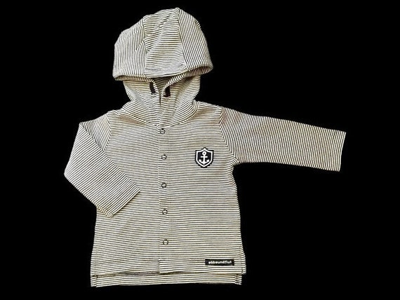 Maritime Baby Jacket Small Captain - Grey/White Striped - Fair Trade & Organic, Baby Gift at Birth, Maritime Baby Jacket, Anchor Coat of Arms