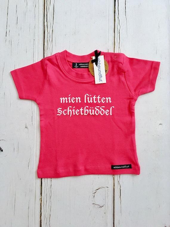"Baby Shirt ""mien lütten Schietbüddel"" pink-fair-Schietbüdel, North German, flat German, baby shirt Schietbüddel, girl, gift"