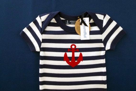 Maritime Baby-Body anchor-Hamburg-fair, Blue White, Hamburg gift, gift for birth, baby, baby gift, baby romper suits anchor