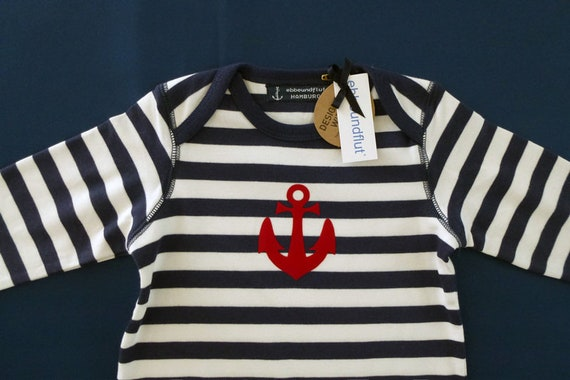 Maritime baby romper ANKER HAMBURG - fair - Hamburg gifts, gift for birth, baby romper, blue and white striped