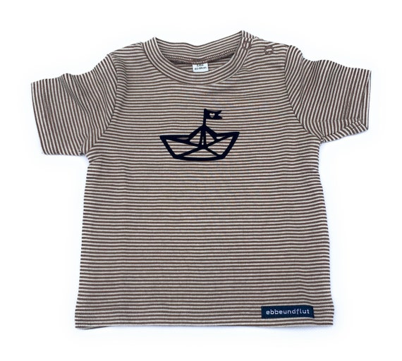 Maritime Baby Shirt Paper Ships-maron/White Striped-Fair & Bio, Baby Gift, Birth, Baby Shirt, Shirt Striped, Paper Ship