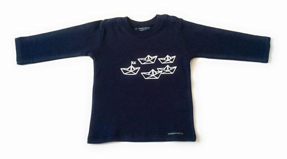 "Boys long sleeve shirt ""paper ships""-Fair Trade-paperboats, shirt maritime, boats, ships, sweaters, top, Hamburg gift"