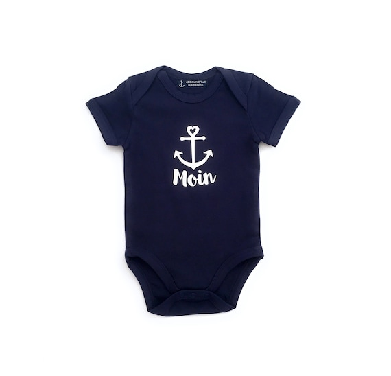 Maritime Baby Body Moin with Anchor - Fair Trade - Dark Blue - Baby Gift for Birth, Baby Trample Moin, East Frisia, Baltic Sea, North Sea