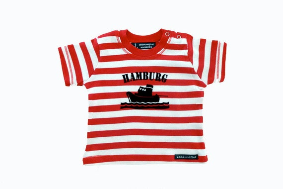 Maritimes baby-shirt tug Hamburg-fair-red/white striped, Hamburg gifts, gift for birth, souvenir, baby, toddler, flock
