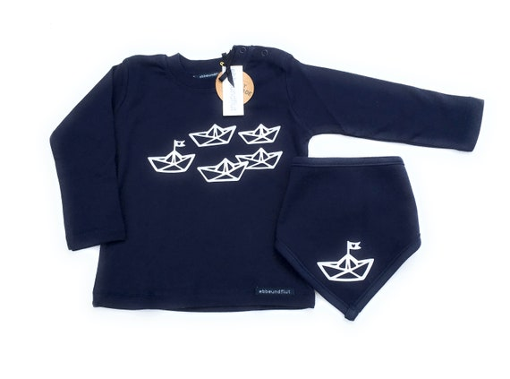 "Boys Set ""Paper Ships"" Long Sleeve Shirt & NeckScarf - Fair Trade - Shirt maritim, Boats, Ships, Sweater, Cloth, Set, Hamburg Gift"