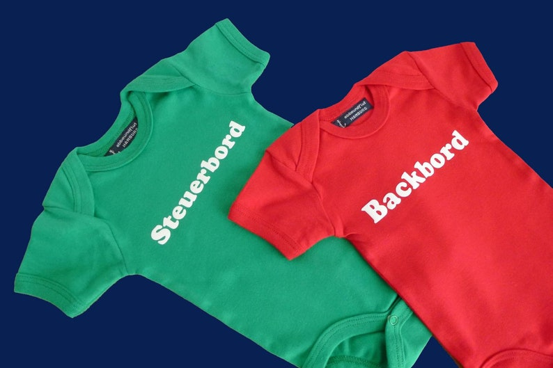 twins twins baby romper suits gift for birth Twin pack: Baby-Bodies Starboard /& Port-Fair trade-green red babyset