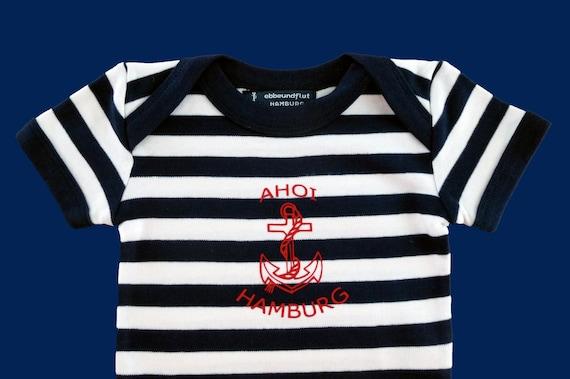Maritime Baby Body AHOI HAMBURG-Fair Trade, Hamburg Gifts, Gift to Birth, Baby, Baby Party, Baby Gift, Baby Ramper