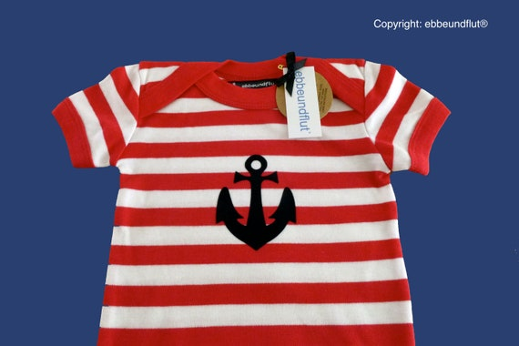 Maritime Baby-Body anchor Hamburg Red/white-fair trade-red white striped, gift for birth, baby, baby gift, baby romper suits anchor