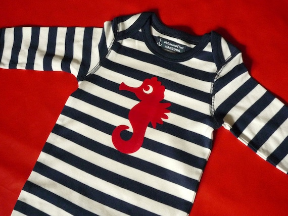 Baby Trample Seahorse - Fair Trade & Organic - Baby Gift for Birth, Maritime Baby Romper Seahorse