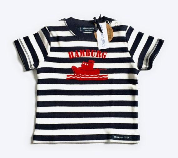 Maritimes baby-shirt tug Hamburg-fair-blue white striped, Hamburg gifts, gift for birth, baby, ship, Hamburg