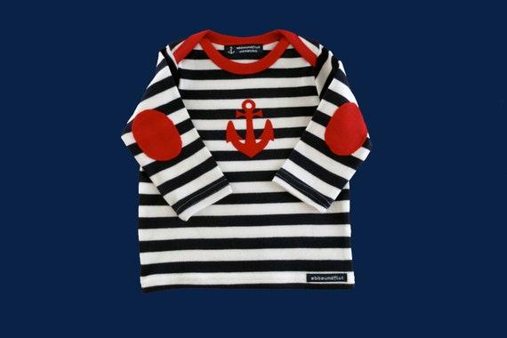 Maritimes baby-long sleeve shirt anchor Hamburg-fair-blue-white striped-Hamburg gifts, gift for birth, Babyshirt, kids shirt