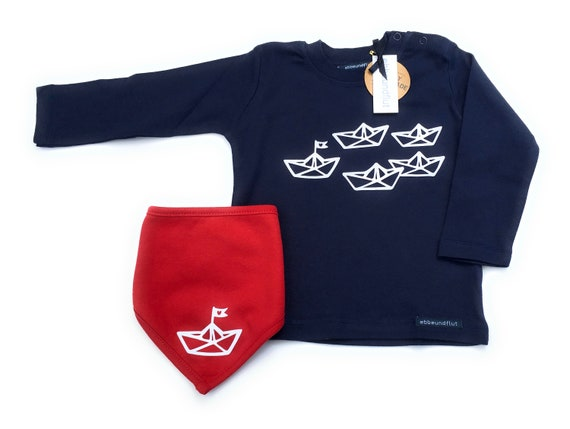 "Boys Set ""Paper Ships"" Long Sleeve Shirt & Neck Scarf Blue/Red - Fair Trade - Shirt maritim, Boats, Sweater, Cloth, Set, Hamburg Gift"