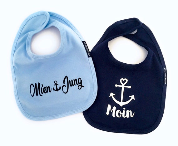 Bib Set Moin & Mien Jung - fair - Sabberlatz, Flat German, Bib Moin, Bib Mien Jung, Baby Gifts for Birth, Twins