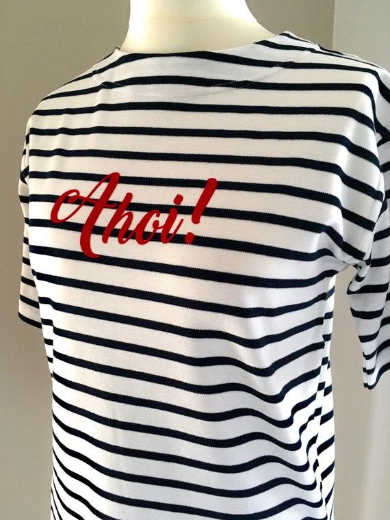Women's Breton Shirt Ahoi - White/Blue Striped - Maritime Women's Shirt Ahoi, Breton Shirt Stripes - Loose Fit, 1/2 Arm