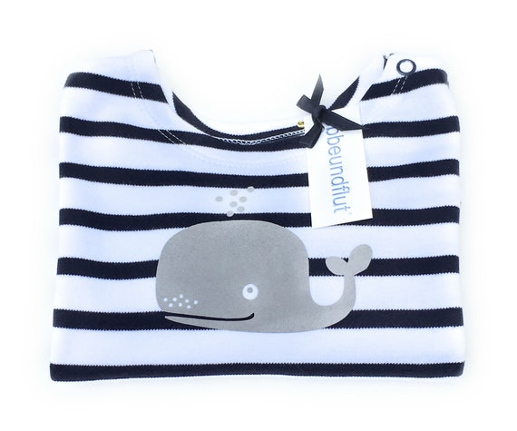 Maritime Baby Shirt WAL-Blue White Striped-Hamburg Shirt, Gift to Birth, Long sleeve Shirt, Whales