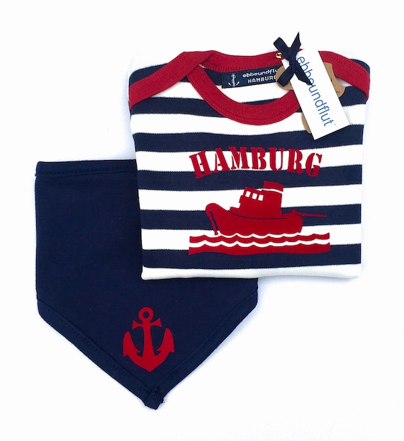 Maritime Set Long sleeve shirt SCHLEPPER HAMBURG & Cloth ANKER-fair-Hamburg Gifts, Gift to Birth, Baby Set, Ship, Hamburg