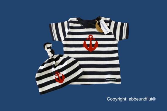 Maritimes baby-shirt & Cap Anchor Hamburg-fair-Hamburg gift, gift for birth, baby, Babyshirt, baby set, knot cap, baby shower