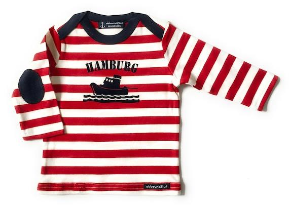 Maritime Seam Baby Shirt Long Sleeve Tug Hamburg - Red White Striped - Hamburg Gifts, Gift for Birth, Baby Shirt Hamburg Ship