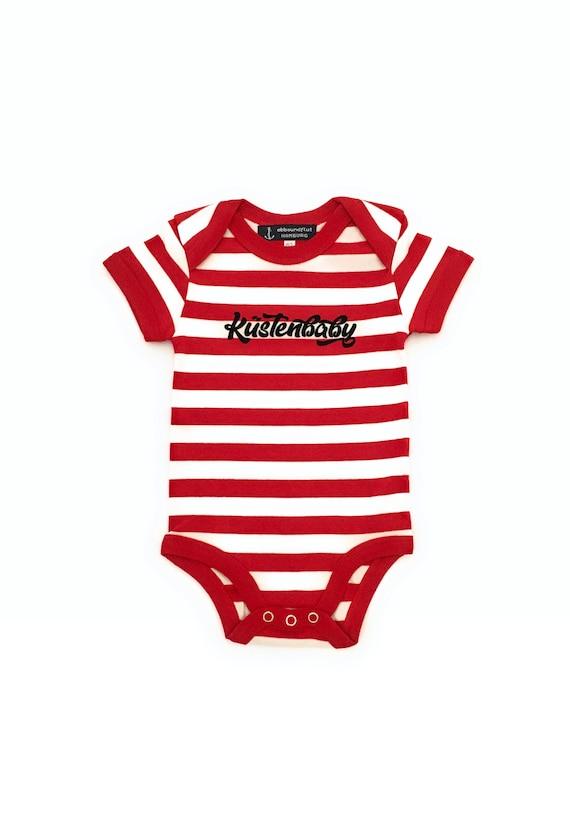 Baby Bodybody Coastal Baby - Fair Trade & Organic - Maritime babybody red/white, baby gift for birth, baby romper striped, baby gift