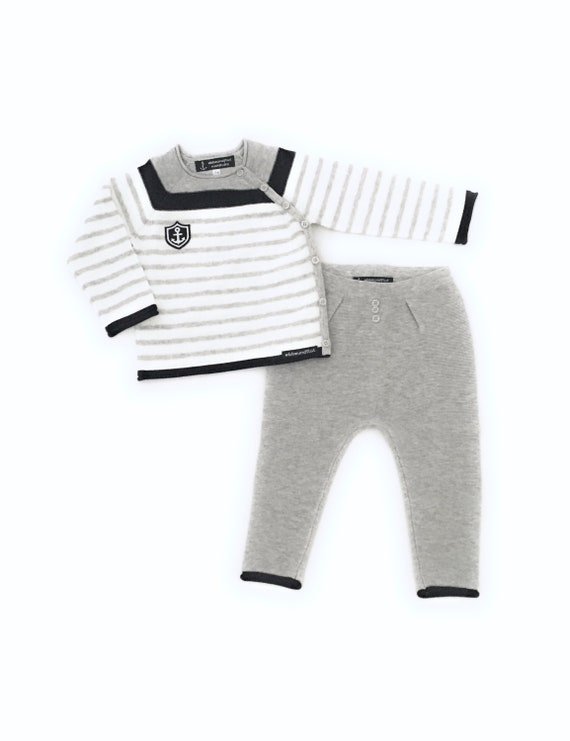 Maritime Baby Set Little Captain - Baby Knit Sweater & Pants Boy maritim, Baby Gift at Birth, Port of Hamburg, Anchor Coat of Arms