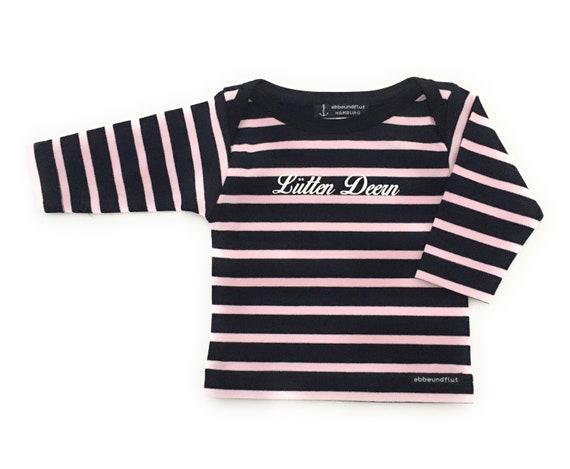 Baby Shirt Lütten Deern - Dark Blue/Pink Striped Shirt, Maritim Girl Shirt, Breton Shirt Baby, Baby Gift for Birth