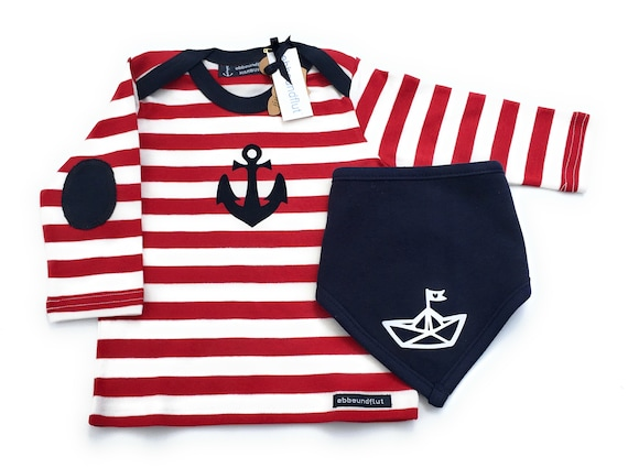 Maritime Set Long Sleeve Shirt Anchor & Cloth Paper Ship in Red/White/Blue - fair - Hamburg Gifts, Birth Gift, Baby Set, Hamburg