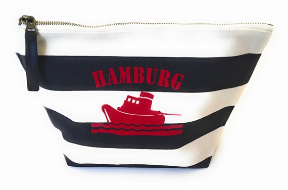 Maritime Cosmetics Bag Tug Hamburg - made of linen canvas, Hamburg gift, striped cosmetic bag Hamburg design