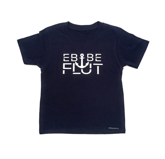 "Kids T-Shirt ""Ebbe & Flut"" - Dark Blue Shirt - Ebb and Flow with Anchor"
