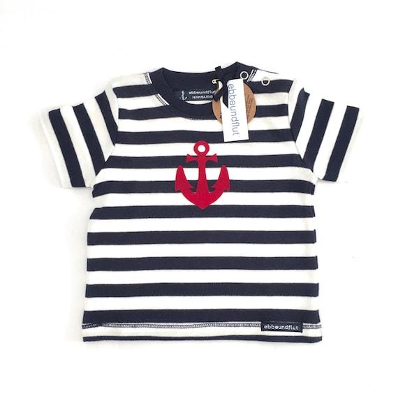 Maritime Baby Shirt Anchor - Fair Trade & Organic - Blue White, Hamburg Gift, Baby Gift for Birth