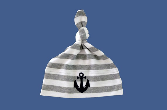 Maritime Baby Hat Anchor - Grey/White - Fair Trade & Organic - Striped Knot Hat, Baby Gift at Birth, Baby Hat Anchor