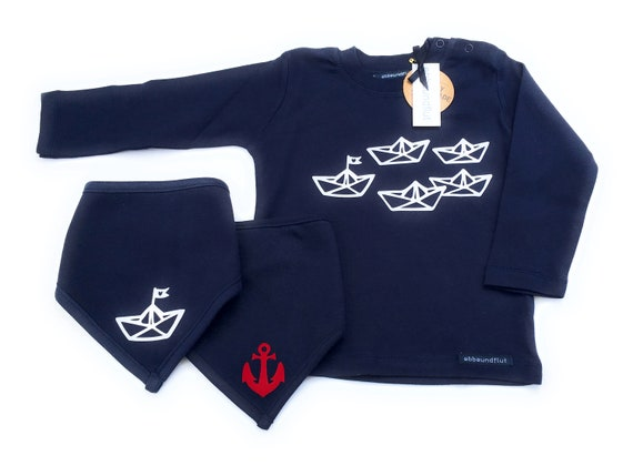 "Boys Set ""Paper Ships"" Long Sleeve Shirt & Neck Scarves Blue/White/ Red - Fair Trade - Maritime Set, Set of 3, Boats, Anchor, Hamburg Gift"