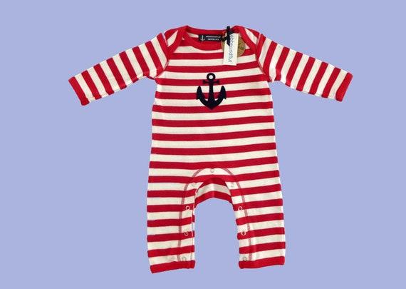 Maritime Baby Romper ANKER HAMBURG - Fair Trade - Hamburg Gifts, Birth Gift, Baby, Baby Romper, Pajamas, Red White Striped
