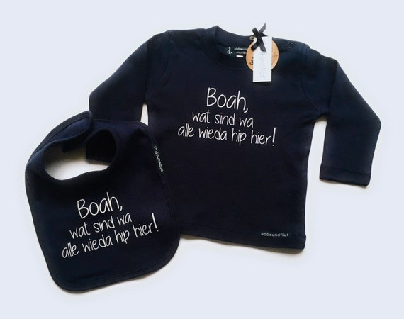 "Set Baby Shirt & Bib ""Boah, wat are wa all likeda hip here!"" - fair - Berlin gifts, bibs and top, Berlin, Berlin Jung"