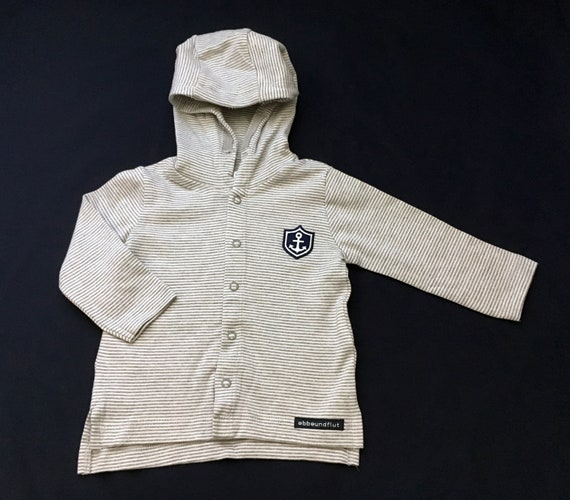 Baby jacket Small captain in organic cotton-grau/white striped-fair & bio, gift to give birth, maritime jacket, anchor, anchor coat of arms