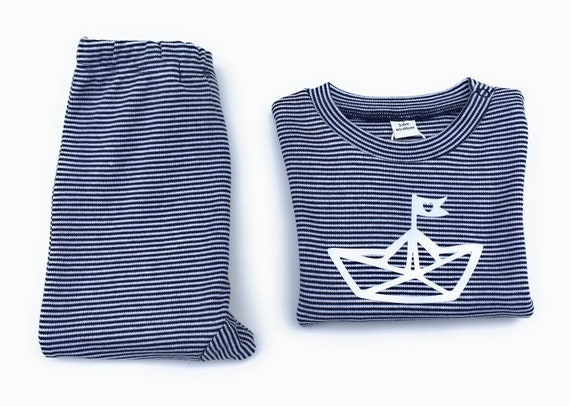 Maritime Baby Set Paper Ships Blue/White-Fair & Bio-Baby Set, Gift to Birth, Baby Shirt and Pants Striped, Folding Boat, Boat