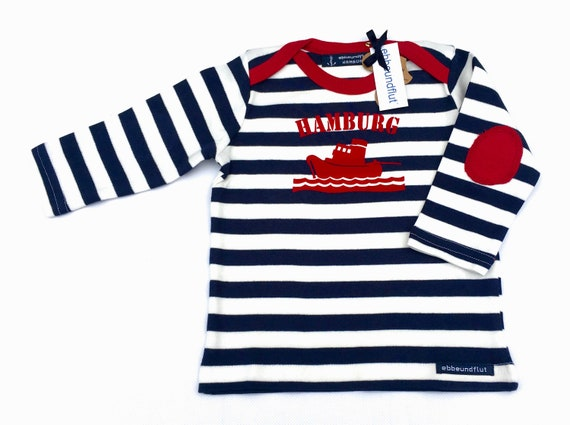 Maritime Baby Long sleeve shirt SCHLEPPER HAMBURG-fair-blue and white striped-Hamburg gifts, gift for birth, baby shirt, ship