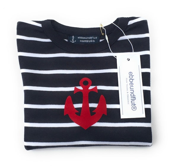 Maritime Baby Shirt Anchor - Long Sleeve Shirt Striped Anchor, Sweater Baby Child Boy, Stripe Shirt Blue White with Anchor