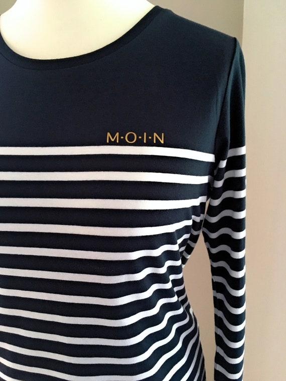 Lightweight women's long sleeve shirt MOIN in dark blue white striped - Maritimes women's shirt MOIN - Slim Fit