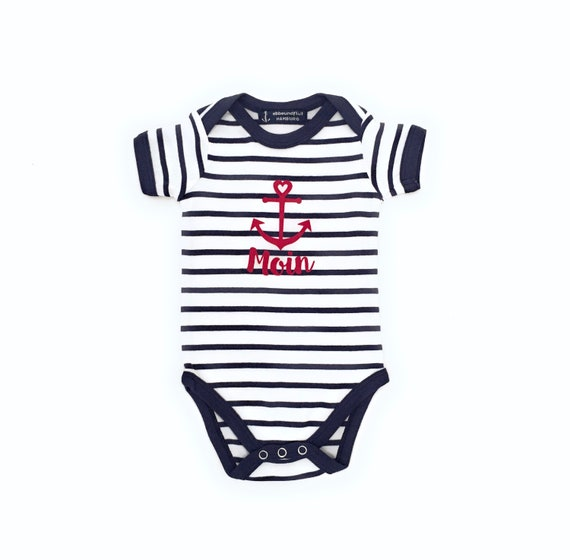 Baby Body Moin - White/Blue - Maritime Babybody Moin with Anchor