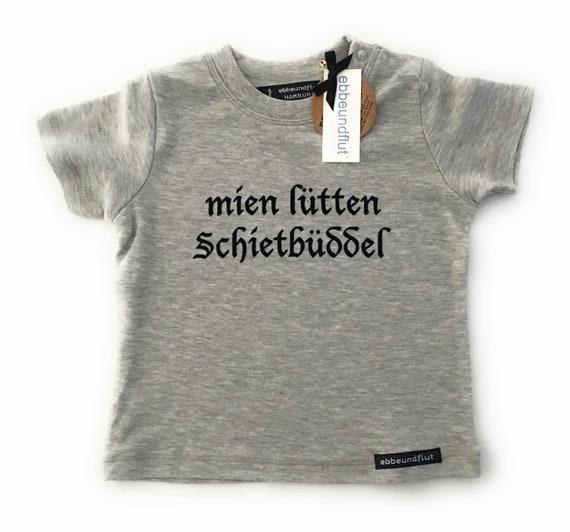 """Baby-Shirt """"mien lütten Schietbüddel"""" grey-ft-Schietbüdel, Schietbüddel, Hamburggeschenk, Baby Gift, Lütt, Platt German, north German"""