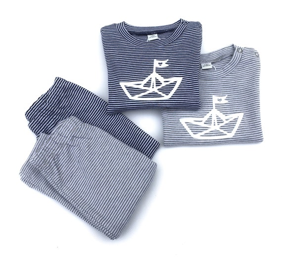 Maritime Sethes Set Paperboat - fair & organic - baby gift for birth, baby set for twins, paper boat set for boys