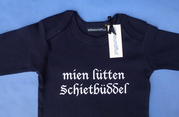 "Baby Body ""mien lütten Schietbüddel""-FAIR TRADE-Long sleeve body, Schietbüddel, Schietbüdel, fair & bio, flat German, North German"
