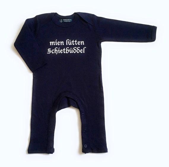 """Baby stramplers """"mien lütten Schietbüddel""""-Fair Trade-romper, Schietbüddel, sleepsuit, all-in-one, playsuit, Rompasuit, baby pyjamas"""