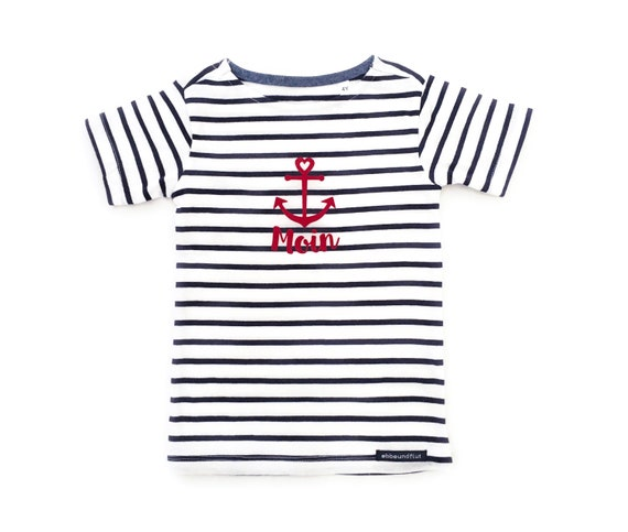 "Kids T-Shirt ""Moin"" - White/Blue - Fair Trade & Organic - Kids Shirt, Stripe shirt maritim with anchor, Kiel, Hamburg, East Frisia"