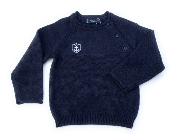 Maritime baby sweater anchor coat of arms by ebbeundflut - knit sweater boy maritim, dark blue sweater, gift for birth